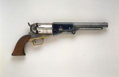 Colt Walker Percussion Revolver, serial no. Designer: Captain Samuel Hamilton Walker (American, died Dimensions: L. of barrel, 9 in. Black Powder Guns, Mexican American War, Hand Cannon, Revolver Pistol, Fire Powers, Guns And Ammo, Self Defense, Percussion, Shotgun