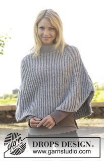 "Gebreide DROPS poncho in valse patentsteek van ""Big Merino"". Maat S-XXXL. ~ DROPS Design"