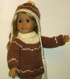 "for 18"" American Girl Dollsl: hand knit sweater & hat."
