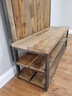 Coat Rack Shoe Bench, Wood Shoe Rack, Metal Furniture, Industrial Furniture, Diy Furniture, Reclaimed Furniture, Large Wooden Crates, Wooden Diy, Tree Coat Rack