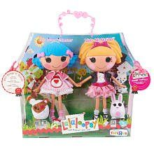 Lalaloopsy Large Doll 2 - Pack - Misty Mysterious and Rosy Bumps 'N Bruises by MGA Entertainment. $69.00. Each doll is dressed to fit her style: safety-conscious Rosie is wearing a cape and layered dress accented with stripes and dots; secret-loving Misty is decked out in a ruffled dress and a short-sleeve pinstripe jacket. Includes 2 dolls and 2 pets. Dolls have plastic bodies with moveable limbs and head. Pet sidekicks: a bandaged bear for Rosie and a sweet b...