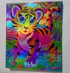 Has a glittery metallic tiger cub on front and back cover. Same picture on inside that is not metallic. Also some writing impressions, upper left and in the middle. These aren't visible unless binder is tilted to catch light. | eBay!