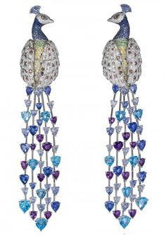 Chopard AN IMMORTAL PEACOCK earrings Designed as two diamond and gem-set peacocks, each with heart-shaped sapphire and alexandrite tail feathers