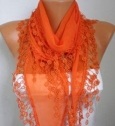 ON SALE  Orange Cotton  Scarf  Shawl  Cowl Scarf  by fatwoman, $13.50