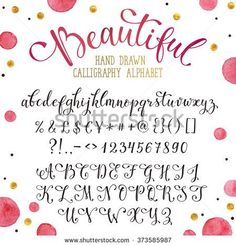 Elegant calligraphy letters with florishes. Handwritten alphabet with watercolor spots on background. Uppercase, lowercase letters, numbers and symbols. Hand drawn modern script.