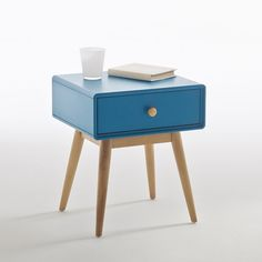Jimi Bedside Table LA REDOUTE INTERIEURS Sleek and Scandinavian-inspired, the Jimi bedside table is a little delight for any bedroom. With a handy drawer, chic curved edges and tapered legs,. Plywood Furniture, Home Furniture, Round Nightstand, Bedside Cabinet, Solid Pine, Home Furnishings, Relax, Design, Home Decor
