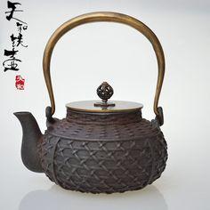 Bambú y ratán olla de hierro olla de hierro fundido tetera juego de té de hierro fundido de revestimiento cubierta de cobre olla olla