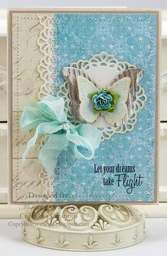 I love the sentiment on this beautiful blue & cream vintage butterfly card from Cupcake's Creations! Scrapbook Paper Crafts, Scrapbook Cards, Scrapbooking, Card Tags, I Card, Gift Tags, Shabby Chic Cards, Butterfly Cards, Vintage Butterfly