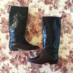 Vintage Jacqueline Ferrar 2 Tone 80s Riding Boots Size 7.5 by IveGoneModVintage on Etsy