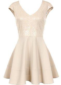 Cafe Au Lait Dress   Cream Sequin Cap Sleeve A-Line Dresses   Rickety Rack on Wanelo
