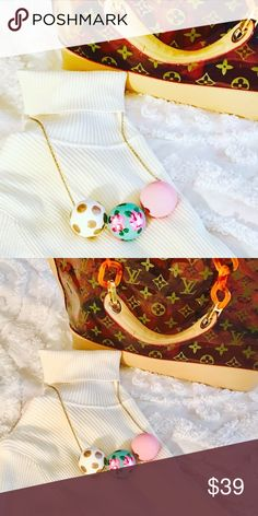 The Lilly Collective Bauble Wood Necklace Super cute handmade and hand painted wood Bauble Necklace in excellent condition BNWT. Perfect addition to any preppy and stylish wardrobe Jewelry Necklaces