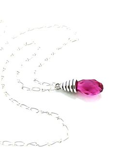 Fuchsia pendant necklace on sterling silver chain #swarovski #pendant #necklace by #UrbanClink, $33.00