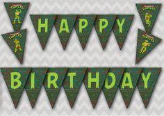 Teenage Mutant Ninja Turtles Birthday Banner TMNT Digital File