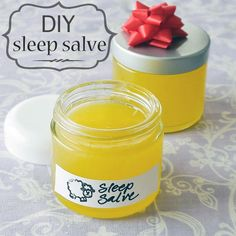 This homemade sleep salve will help relax you and put you to sleep! Coconut oil + olive oil + beeswax + 5 essential oils