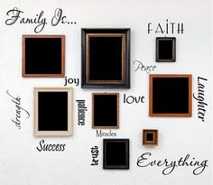 Family wall art wall words collage for your family pictures.