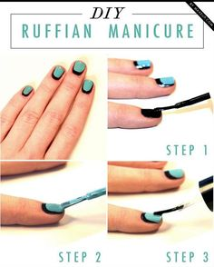 Nail Art Tutorial - Head over to Pampadour.com for more fun and cute nail art designs! Pampadour.com is a community of beauty bloggers, professionals, brands and beauty enthusiasts! #nails #nailpolish #polish #nailart #naildesign #cute #fun #pretty #howto #tutorial #beauty #manicure #ruffian