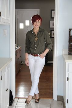 Thrift and Shout Wednesday, February 25, 2015 Cute Outfit of the Day: White Jeans  Total Cost: $36  I'm headed to Florida tomorrow which reminded me- it's been awhile since I've worn my white jeans! I love that it's now acceptable to wear white jeans in the winter! White is so chic! Today I'm pairing my white jeans with the military trend. Isn't this vintage necklace so cool?!