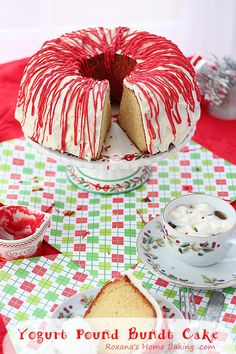 Greek Yogurt Pound Bundt Cake - Moist and light yogurt pound cake covered in white candy and red drizzles for a Christmas look. Recipe from Roxanashomebaking.com