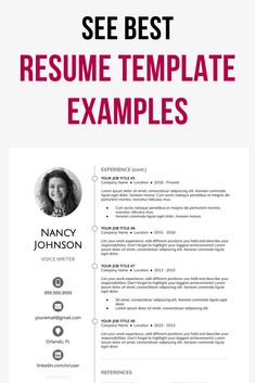 Your perfect resume example. Get the best expert help and tips. Use professional resume samples for jobs in any industry. Download for free. Resume Template Examples, Best Resume Template, Creative Resume Templates, Resume Layout, Resume Design, Perfect Resume Example, Professional Resume Samples, First Resume, Create A Resume