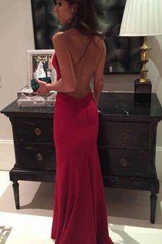 Elegant backless red chiffon prom dress