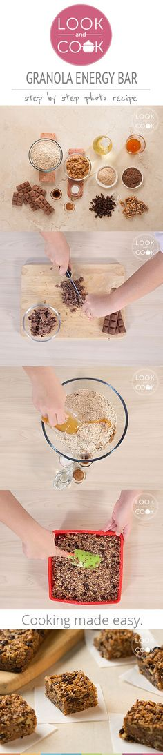GRANOLA ENERGY BAR RECIPE (LC14321) - Always battling against the clock to put together something healthy and nutritious? This easy to make Granola Bar or energy bar is made up of chocolates that can be slipped into your kids lunch box.
