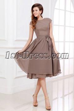 Mother of Groom Dresses Short | Brown Tea Length Short Mother of Groom Dress with Short Sleeves