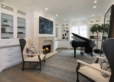 Living room white built in cabinet paint color | Brandon Architects, Inc