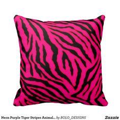Neon Purple Tiger Stripes Animal Print Pillow