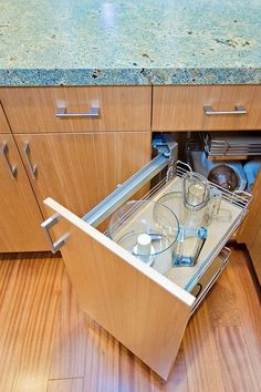 A cabinet with pullout drawers can make your life a lot easier in the kitchen! [Design: Bill Fry Construction]
