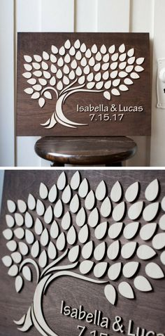 This Listing is for a Wedding Guest Book for signing. Your guests sign the leaves and then you are able to hang this beautiful wall art keepsake to enjoy for years to come. giftedoccasion.com #gift #gifts #wedding #weddinggift #woodengift #woodensign #board #sign #weddinggiftsforguests
