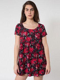 Large Floral Printed Rayon Babydoll Dress | American Apparel
