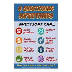 Shop 8 Questioning Superpowers Poster created by Questions_Classroom. Questions To Ask, This Or That Questions, Student Teacher, Custom Posters, Change The World, Super Powers, Free Ebooks, Favorite Quotes, Coaching