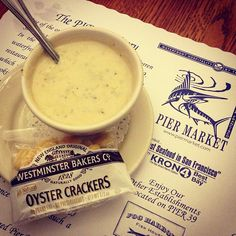 Cup of Clam Chowder, Pier Market, Pier 39. Crab cocktail & steamed clams were amazing