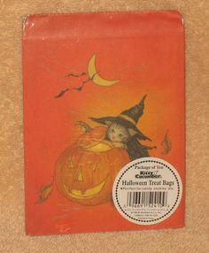 VINTAGE KITTY CUCUMBER PACKAGE OF 10 HALLOWEEN TREAT BAGS NIP
