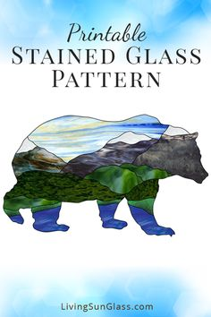 Stained Glass Pattern of Mountain Range in Grizzly Bear Silhouette - This printa. Stained Glass Patterns Free, Faux Stained Glass, Stained Glass Designs, Stained Glass Panels, Stained Glass Projects, Mosaic Patterns, Glass Painting Patterns, Art Patterns, Mosaic Designs