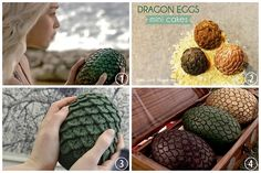 DIY Mini Roundup of Game of Throne Dragon Egg Tutorials that look good and are doable. Daenerys holding one of her 3 dragon eggs. HBO. DIY Dragon Egg Cakes Tutorial and Recipe from Glitter Mint here. For gorgeous Game of Throne food, recipes and menus go to Inn at the Crossraods here. DIY Crochet Dragon Egg Pattern from Ravelry here. The pattern is $4.75 and sign up at Ravelry is free (and they have lots and lots of free patterns). DIY Carved Styrofoam Dragon Eggs and Display Chest from Game…