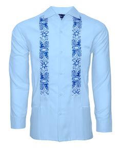 "Limited Edition ""The Clouds Part"" guayabera shirt for the lucky few who can get their hands on it before it sells out. The original artwork from a young Venezuelan artist we named ""The Clouds Part"" is embroidered in Blue thread which makes it POP against the lightweight & soft to the touch Light Blue Lux Linen Blend. Featuring two large waist pockets that can easily fit any phone or wallet and a small cigar pocket at the chest that can be used to hold a pen, glasses, and of course, a cigar."