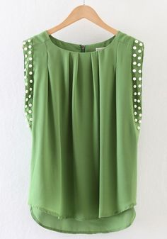 Ugh, I'd love to wear something like this, but my chest would look like a table!! Green Plain Beading Pleated Chiffon Blouse