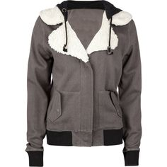 VERY cute!!! Volcom women's zip/double snap hooded jacket, Notched collar with sherpa lining.