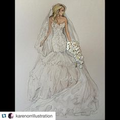 #Repost @karenorrillustration with @repostapp. Stunning Anastasia - wearing Steven Khalil @ak_lifeinpics @steven_khalil  Hair- @julianamarcs  MUA- @susieayoubmakeup  Floral- @flowerculturebyjohnemmanuel Photo reference- @imagecouture  #realbride #bridalillustration  For Illustration enquiry- please contact- karenorrillustration@gmail.com