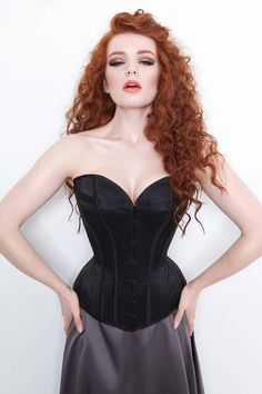 Custom overbust corset in silk with antique inspired cording