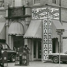 Exterior view of The Highland Park Pharmacy located at the corner of Knox and Travis Streets in Highland Park on Jan. 9, 1983.