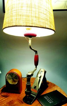 Lamp made from an old Stanley wood plane, and old hand drill brace