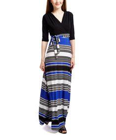 Royal & Black Stripe Three-Quarter Sleeve Maxi Dress #zulily #zulilyfinds