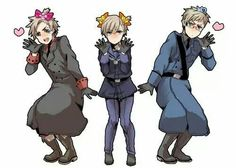 Hetalia-Denmark, Norway, & Sweden Gosh, you guys look gorgeous, but what are you even doing? xD