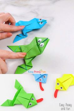 Origami Frogs Tutorial – Origami for Kids - Crafts Instruções Origami, Origami Videos, Origami Ball, Paper Crafts Origami, Paper Crafts For Kids, Preschool Crafts, Projects For Kids, Diy For Kids, Paper Crafting