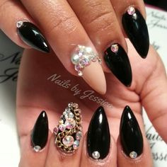 Black Embellished Nails for Classy Nail Designs