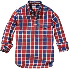 GANT Indigo Twill Check Pullover -- Blue, Red, and Purple