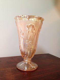 /depression-glass-iris-vase. Herringbone Pattern. Jeanette Glass Co.