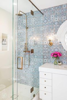 bathroom blue tile